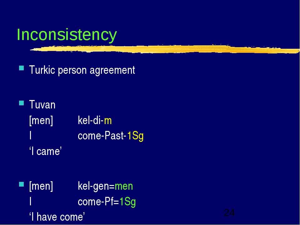 Inconsistency Turkic person agreement Tuvan [men] kel di m I come Past 1Sg 'I...