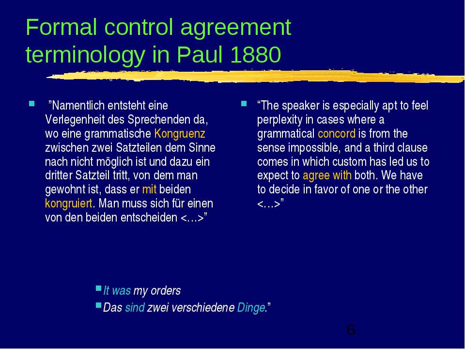 "Formal control agreement terminology in Paul 1880  ""Namentlich entsteht eine ..."