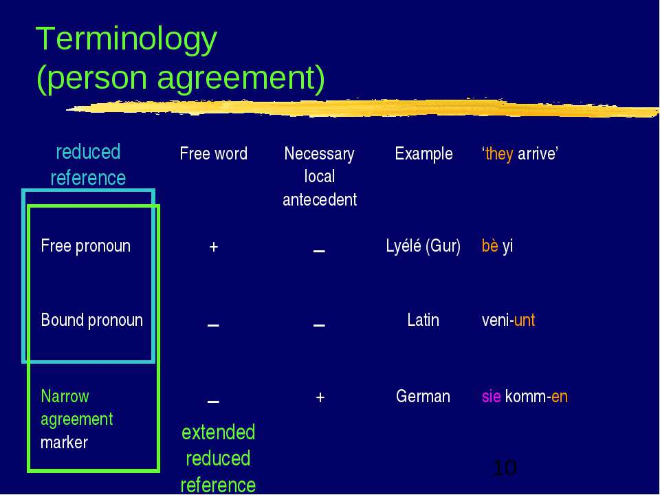 Terminology (person agreement) reduced reference extended reduced reference