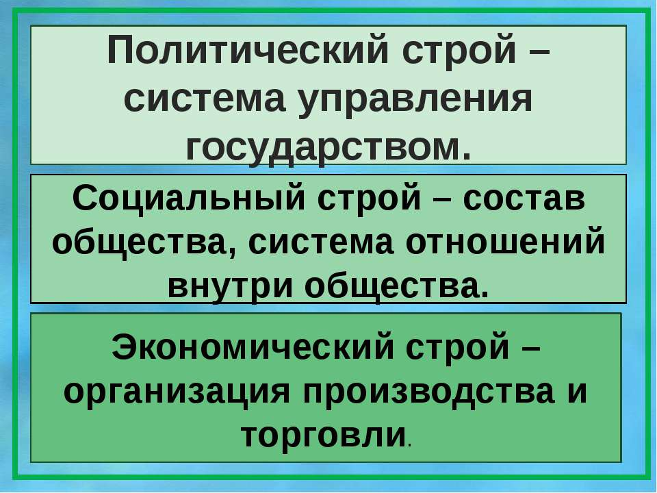 Политический строй – система управления государством. Социальный строй – сост...