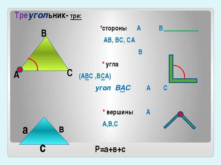 Треугольник- три: *стороны А В АВ, ВС, СА В * угла (АВС ,ВСА) угол ВАС А С * ...