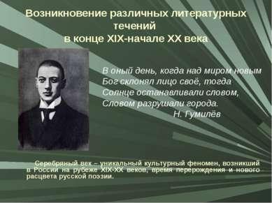 Возникновение различных литературных течений в конце XIX-начале XX века Сереб...