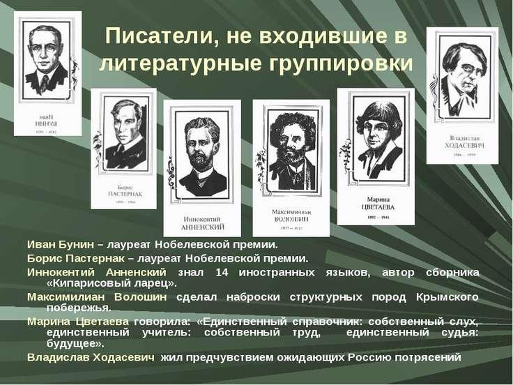 Писатели, не входившие в литературные группировки Иван Бунин – лауреат Нобеле...