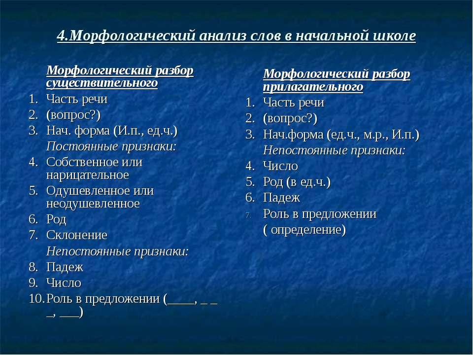 4.Морфологический анализ слов в начальной школе Морфологический разбор сущест...