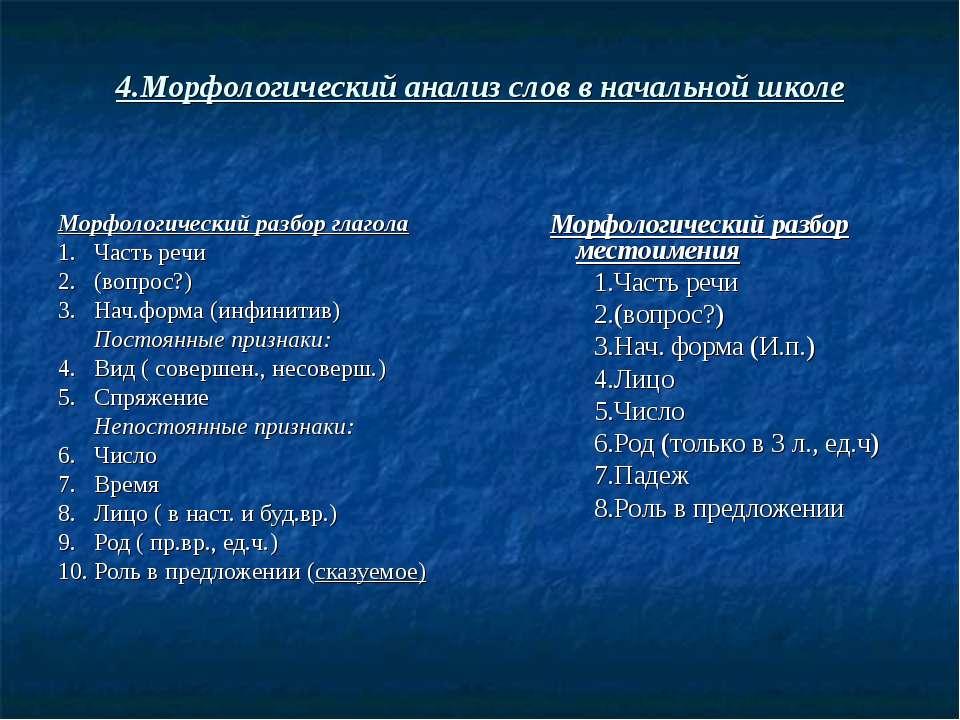 4.Морфологический анализ слов в начальной школе Морфологический разбор глагол...