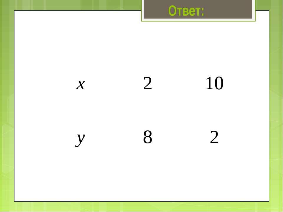 Ответ: х 2 10 у 8 2