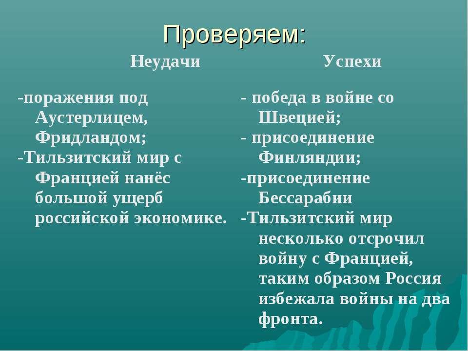 Проверяем: Неудачи Успехи -поражения под Аустерлицем, Фридландом; -Тильзитски...
