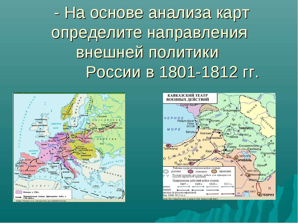 - На основе анализа карт определите направления внешней политики России в 180...