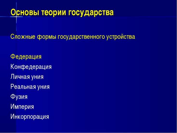 Основы теории государства Сложные формы государственного устройства Федерация...