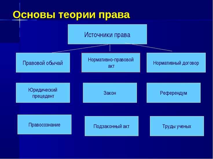 Основы теории права Правовой обычай Нормативно-правовой акт Нормативный догов...