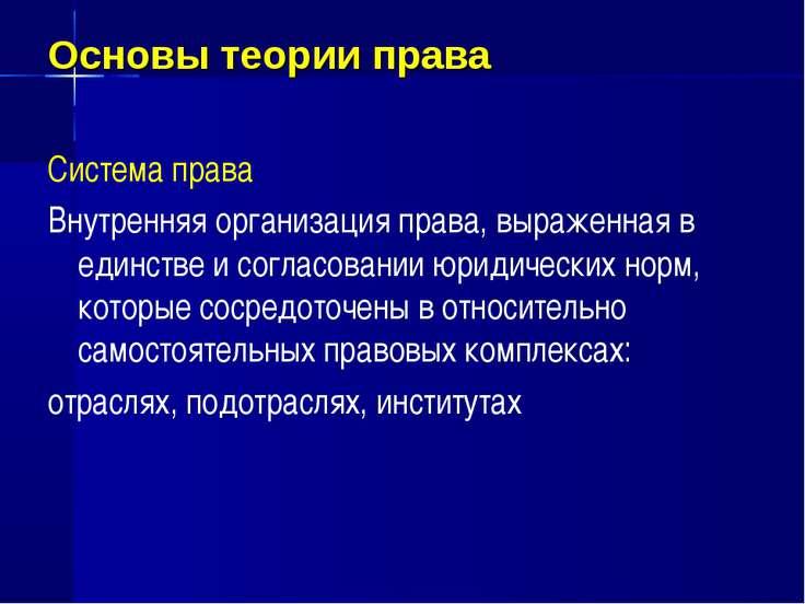 Основы теории права Система права Внутренняя организация права, выраженная в ...