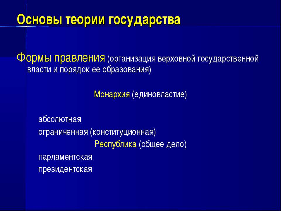 Основы теории государства Формы правления (организация верховной государствен...