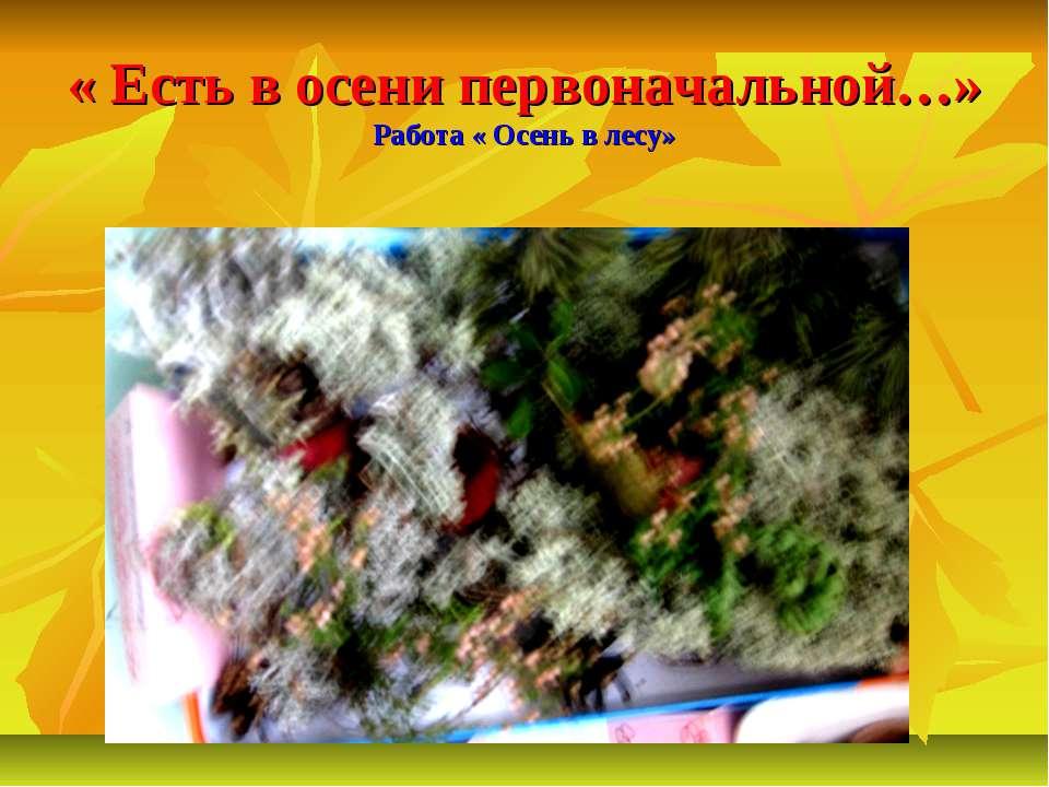 « Есть в осени первоначальной…» Работа « Осень в лесу»