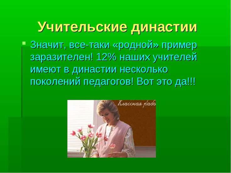 Учительские династии Значит, все-таки «родной» пример заразителен! 12% наших ...