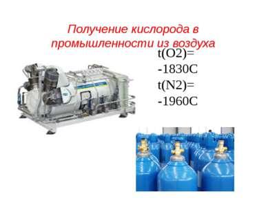 Получение кислорода в промышленности из воздуха t(О2)= -1830С t(N2)= -1960С