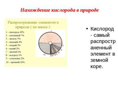 Нахождение кислорода в природе Кислород - самый распространенный элемент в зе...