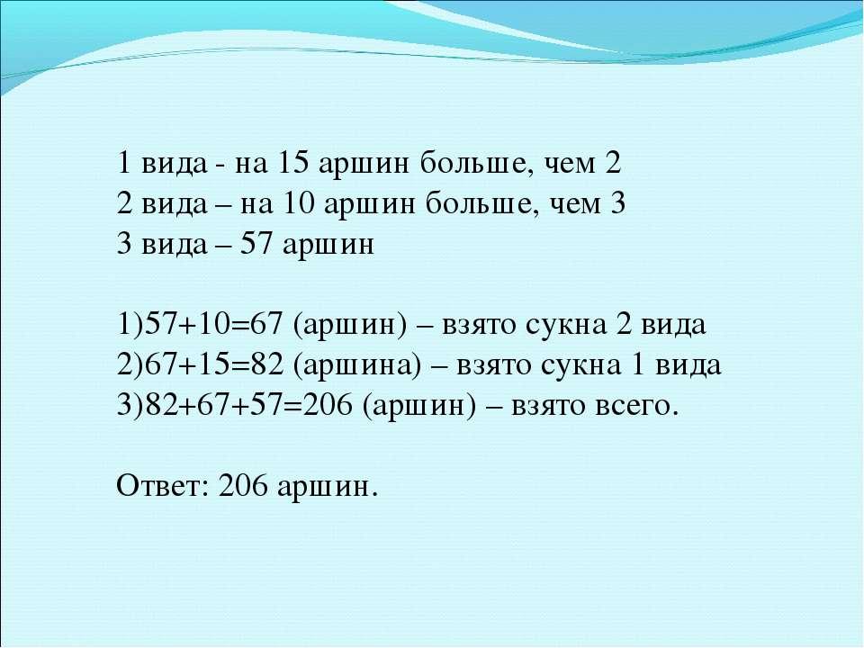 1 вида - на 15 аршин больше, чем 2 2 вида – на 10 аршин больше, чем 3 3 вида ...