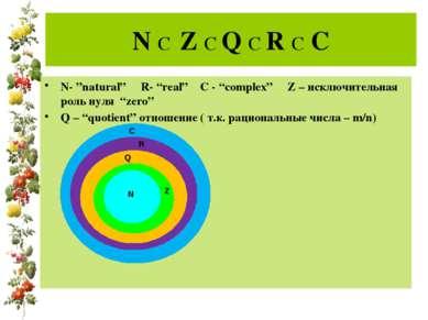 """N C Z C Q C R C C N- """"natural"""" R- """"real"""" C - """"complex"""" Z – исключительная рол..."""