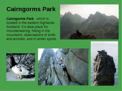 Cairngorms Park Cairngorms Park , which is located in the eastern highlands S...