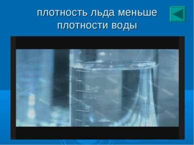 плотность льда меньше плотности воды