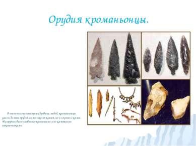 Орудия кроманьонцы. В отличии от остальных древних людей, кроманьонцы умели д...