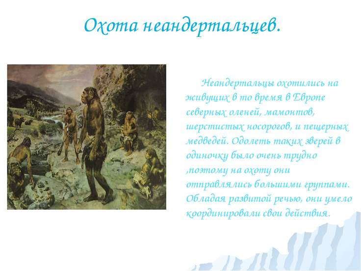 Охота неандертальцев. Неандертальцы охотились на живущих в то время в Европе ...