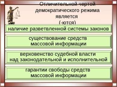 Отличительной чертой демократического режима является (-ются) гарантии свобод...