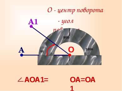 О О - центр поворота ОА=ОА1 A1 α- угол поворота A АОА1=α α