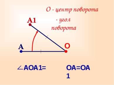 О О - центр поворота ОА=ОА1 A1 α- угол поворота α A АОА1=α