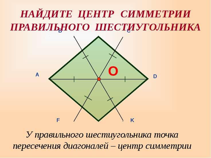 У правильного шестиугольника точка пересечения диагоналей – центр симметрии Н...