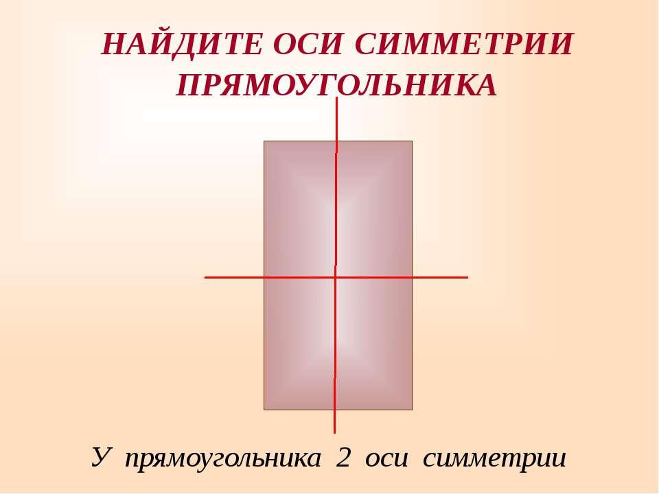 У прямоугольника 2 оси симметрии НАЙДИТЕ ОСИ СИММЕТРИИ ПРЯМОУГОЛЬНИКА