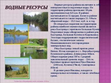 Водные ресурсы района включают в себя поверхностные и подземные воды. По терр...