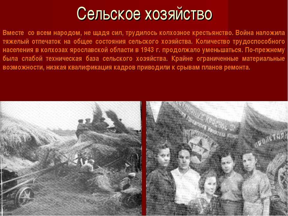 Сельское хозяйство Вместе со всем народом, не щадя сил, трудилось колхозное ...
