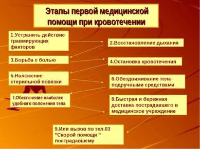 Этапы первой медицинской помощи при кровотечении 1.Устранить действие травмир...