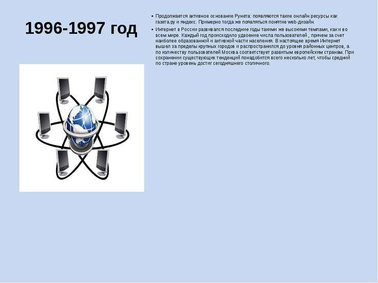 1996-1997 год Продолжается активное основание Рунета: появляются такие онлайн...