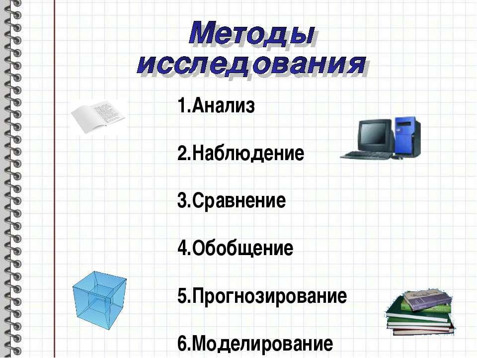 Анализ Наблюдение Сравнение Обобщение Прогнозирование Моделирование
