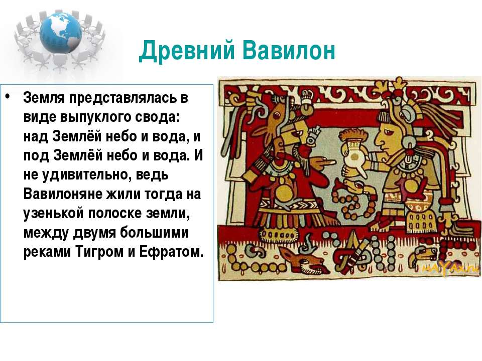 Древний Вавилон Земля представлялась в виде выпуклого свода: над Землёй небо ...