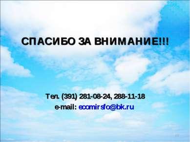 СПАСИБО ЗА ВНИМАНИЕ!!! Тел. (391) 281-08-24, 288-11-18 e-mail: ecomirsfo@bk.ru *