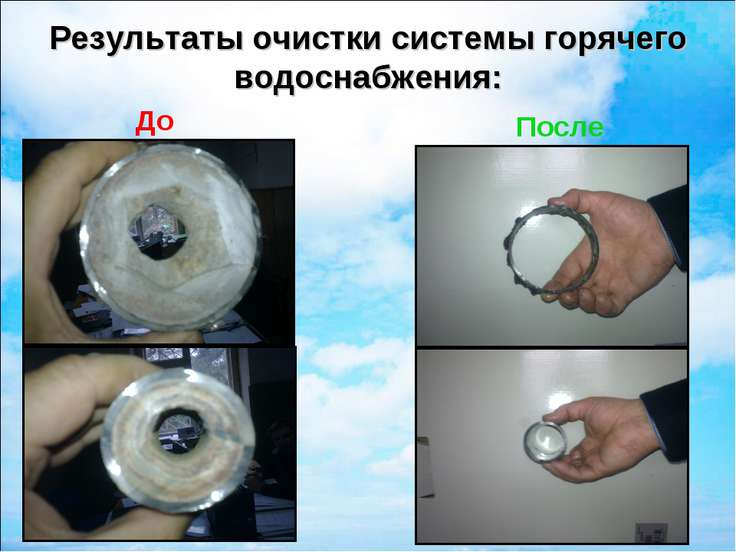 Результаты очистки системы горячего водоснабжения: До После