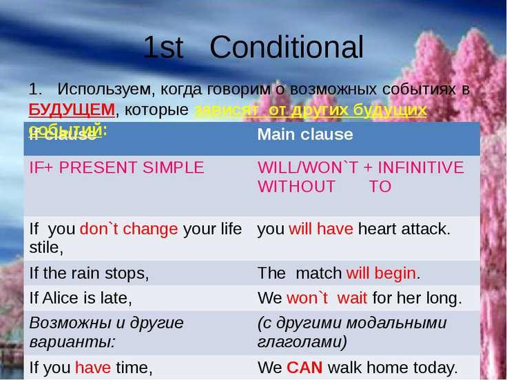 1st Conditional 1. Используем, когда говорим о возможных событиях в БУДУЩЕМ, ...