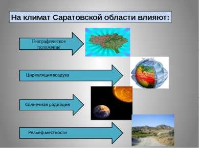 На климат Саратовской области влияют: Географическое положение