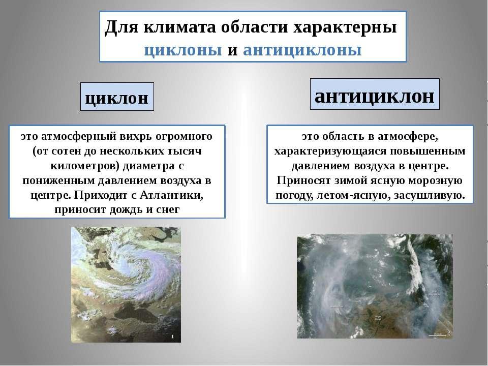 Для климата области характерны циклоны и антициклоны циклон антициклон это ат...