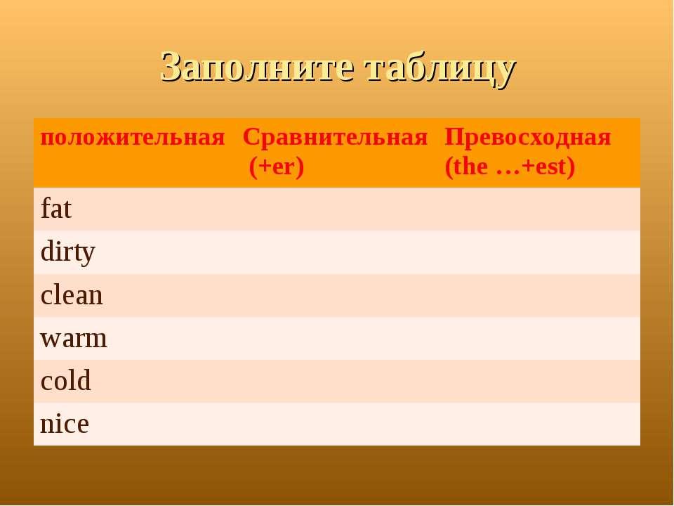 Заполните таблицу положительная Сравнительная (+er) Превосходная (the …+est) ...