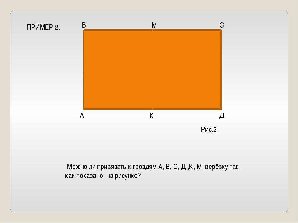 ПРИМЕР 2. В М С А К Д Можно ли привязать к гвоздям А, В, С, Д ,К, М верёвку т...