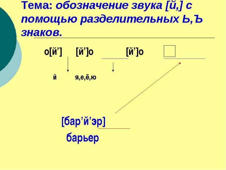 Тема: обозначение звука [й,] с помощью разделительных Ь,Ъ знаков. о[й'] [й']о...