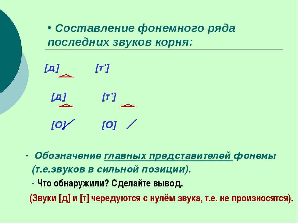 Составление фонемного ряда последних звуков корня: [д] [т'] [д] [т'] [О] [О] ...