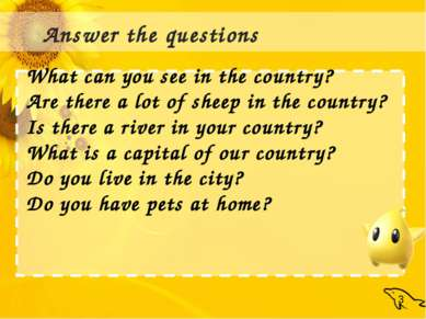 : Answer the questions What can you see in the country? Are there a lot of sh...