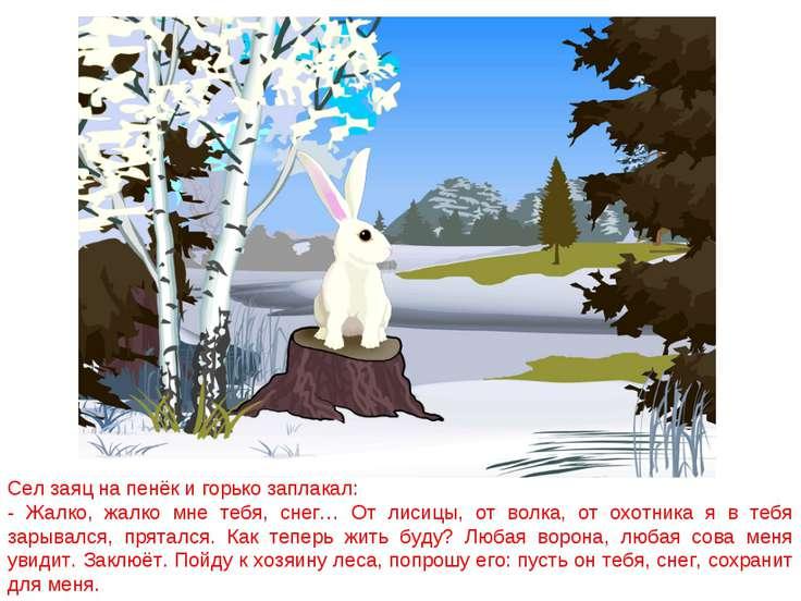 Сел заяц на пенёк и горько заплакал: - Жалко, жалко мне тебя, снег… От лисицы...
