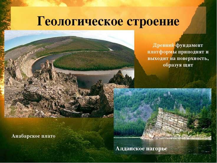 Геологическое строение МБОУ Новолеушинская СОШ Анабарское плато Алданское наг...