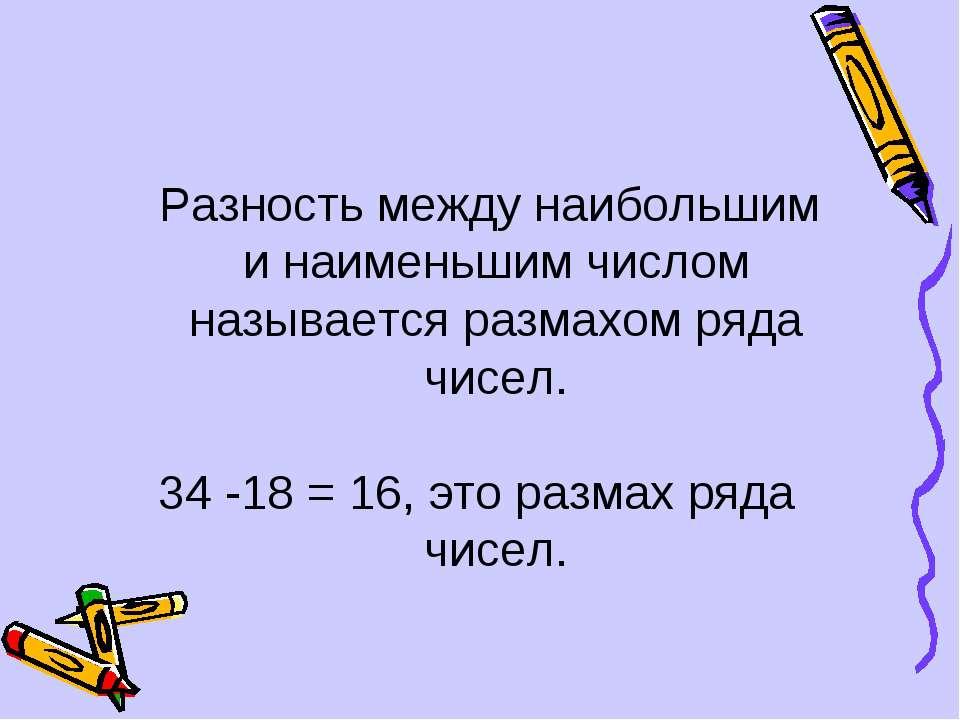 Разность между наибольшим и наименьшим числом называется размахом ряда чисел....